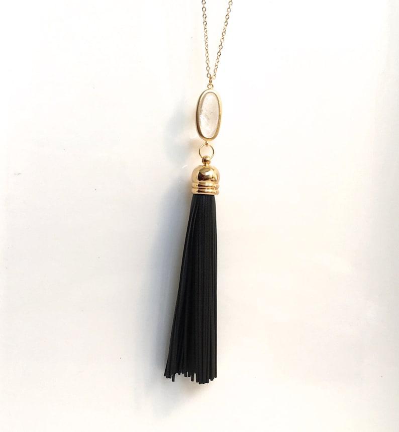 Black Leather Tassel Necklace Long Black Leather Tassel Necklace Bohemian Long Tassel Crystal Necklace Long and Layered Necklace