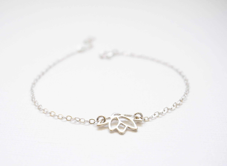 Sterling Silver Lotus Bracelet Lotus Flower Bracelet Sterling
