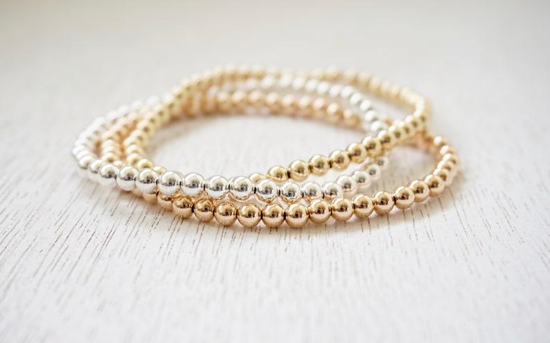 a7b6ed510eb Beaded Ball Bracelet in Gold Fill Rose Gold Fill or Sterling | Etsy
