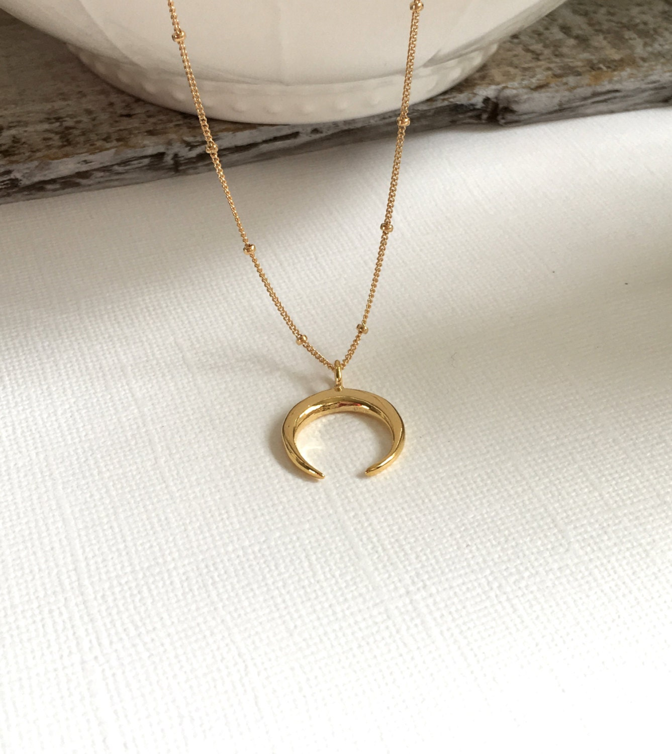 Custom Double Horn Necklace in Gold 22