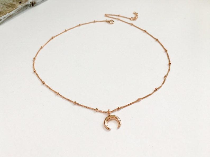 Gift for her under 30 Beaded Chain Choker Rose Gold Beaded Chain Choker Gold Beaded Choker Sterling Silver Moon Double Horn Choker