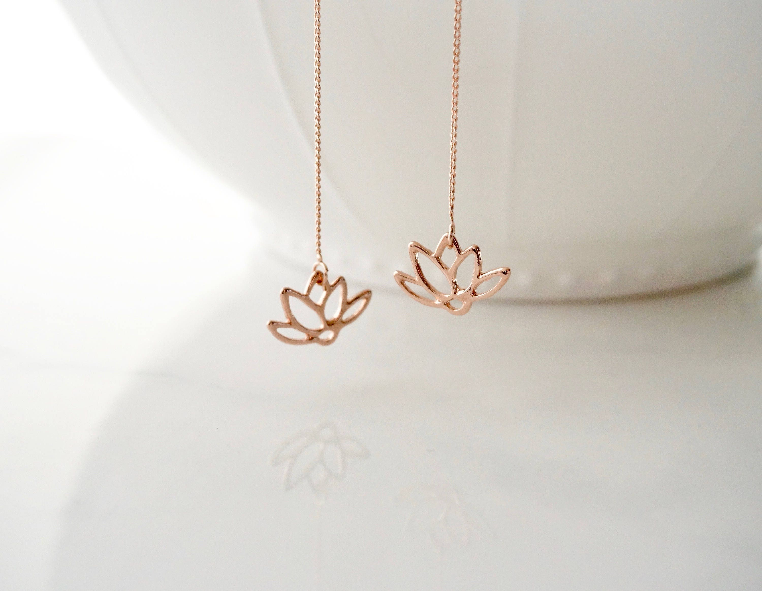 Lotus Flower Earrings Gold Lotus Flower Silver Lotus Flower Pink