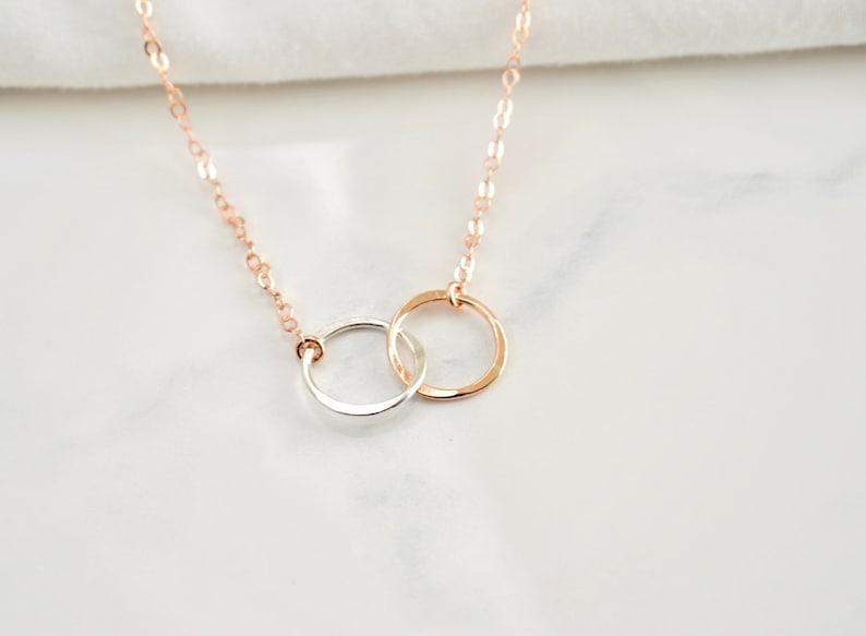 62d5ccbdece96 Double Circle Necklace, Infinity Necklace, Best Friend Necklace,  Interlocking Circle Necklace, Layering Necklace, Mother Daughter Necklace
