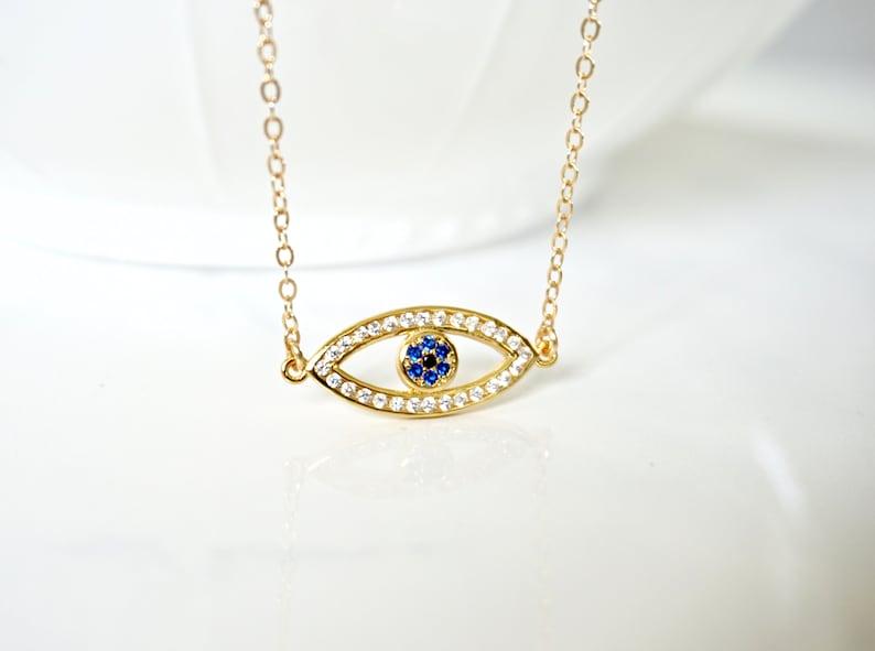 Rose Gold Evil Eye Charm Necklace Bohemian Choker Evil Eye Choker Gold Evil Eye Necklace Silver Evil Eye CZ Necklace