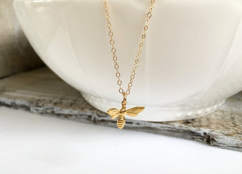 Small Gold Bee Charm Necklace Gold Honey Bee Pendant Necklace