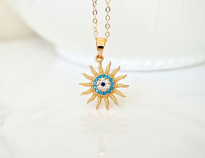 Gold Sun Pendant Necklace Sun Charm Necklace Gold Evil Eye Necklace CZ Sun Charm Sol Necklace Turquoise Necklace You are my sunshine
