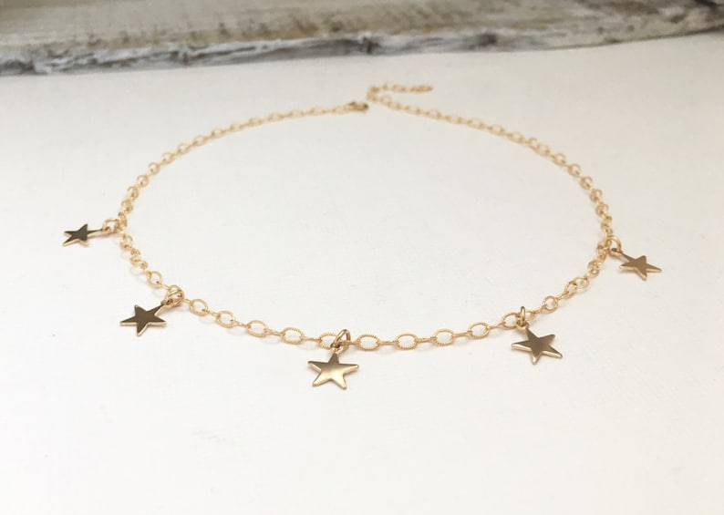 Gold Filled Star Choker Necklace Sterling Silver Star image 0