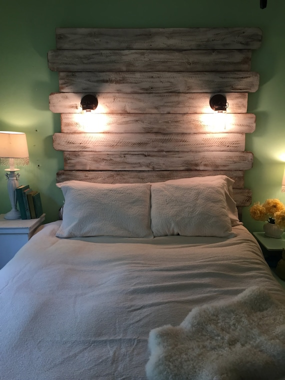 Reclaimed Style Lighted White Queen Headboard