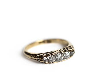 Victorian 18k Gold Five Stone Old Mine Cut Diamond Ring - Antique Engagement Ring with Scrolling Gallery
