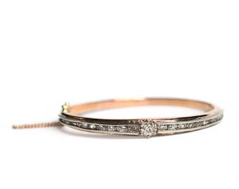 Edwardian Diamond Bangle Bracelet in 14k Gold & Platinum - Antique OMC Hinged Rose Gold Layering Bracelet