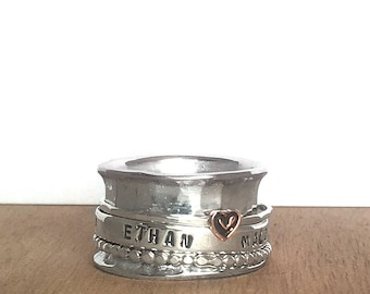 Personalized Mother's Spinner Ring