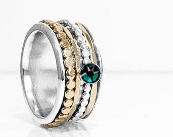 Swarovski Emerald Birthstone Spinner Ring With Sterling Silver Base