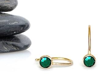 Emerald Swarovski Crystal Tiny Drop Earrings