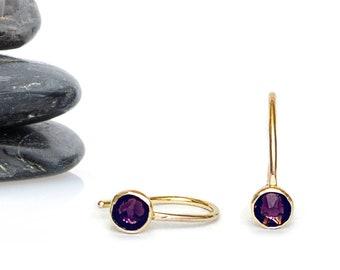 Amethyst Swarovski Crystal Tiny Drop Earrings