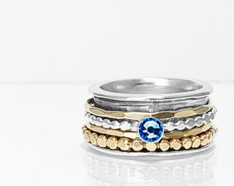 Swarovski Crystal Birthstone Spinner Ring