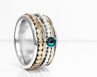 Swarovski Crystal Birthstone Spinner Ring With Sterling Silver Base