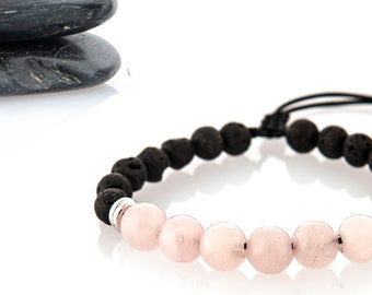 Essential Oils Rose Quartz and lava stone Bracelet