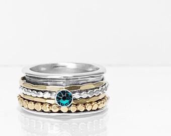 Swarovski Crystal Birthstone Spinner Ring