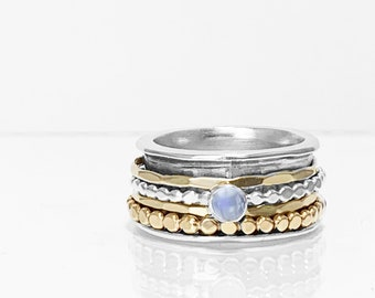 Rainbow Moonstone Mixed Metals Spinning Ring