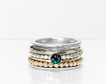 Emerald Swarovski  Birthstone Spinner Ring