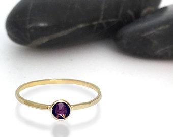 Amethyst Swarovski Crystal Birthstone Ring