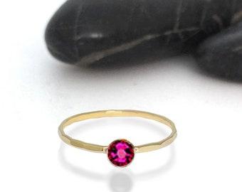 Ruby Swarovski Crystal Birthstone Ring