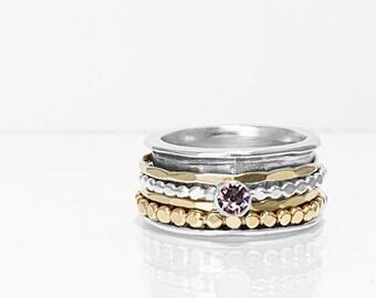 Swarovski Alexandrite Crystal Birthstone Spinner Ring