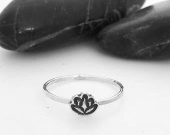 Tiny Lotus Charm Stacking Ring