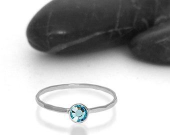 Aquamarine Swarovski Crystal Birthstone Ring