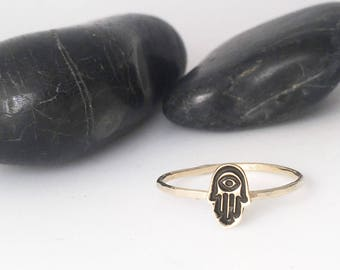 Tiny Hamsa Charm Stacking Ring