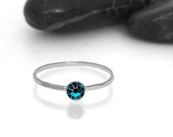Blue Zircon Swarovski Crystal Birthstone Ring