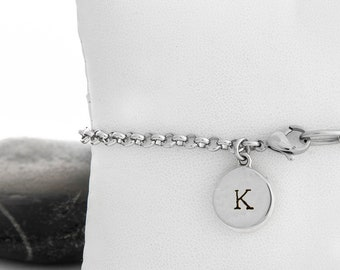 Sterling And Steel Initial Charm Bracelet
