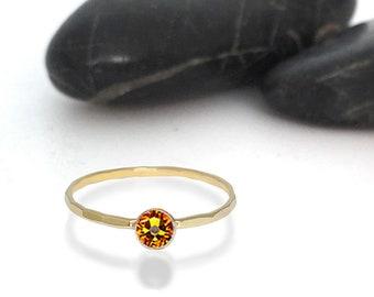 Topaz Swarovski Crystal Birthstone Ring
