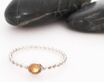 Citrine Ring, Citrine Jewelry, Citrine, November Birthstone, Birthstone Ring, Stacking Ring, Sterling Silver Ring, Sterling Silver
