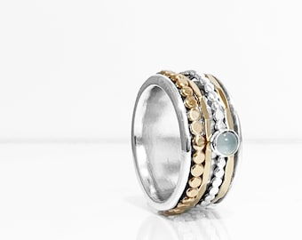 Aquamarine Mixed Metals Spinner ring