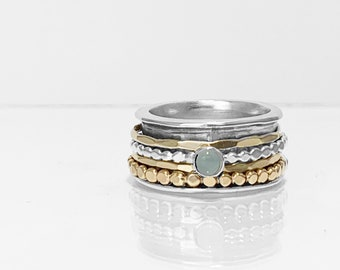 Aquamarine Mixed Metals Spinning Ring