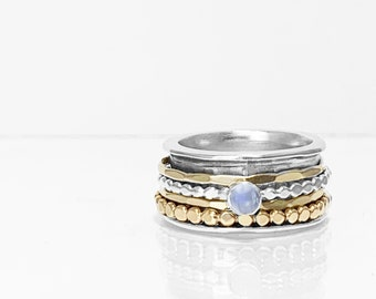 Moonstone Mixed Metals Spinner Ring, Sterling Silver Base
