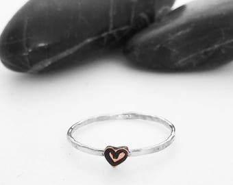 Tiny Heart Charm Stacking Ring