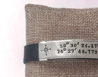 Leather Bracelet, Latitude Longitude, Mens Bracelet, Custom Coordinates, Coordinate Bracelet, Coordinates Bracelet, Anniversary Gift, B260