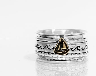 Sailboat Spinner Ring