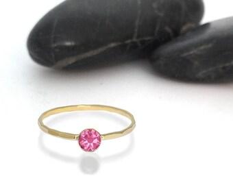 Pink Tourmaline Swarovski Crystal Birthstone Ring