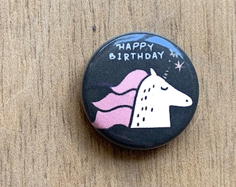 Happy Birthday Unicorn Pin/Magnet
