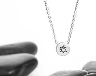 Small Sliding Adoption Charm Necklace in Recycled Sterling Silver