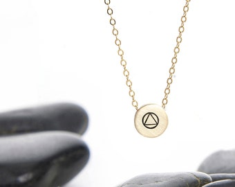 Small Sliding Sobriety Charm Necklace