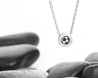 Small Sliding Soccer Ball Charm Necklace