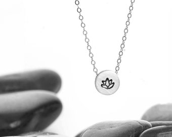 Small Sliding Lotus Flower Charm Necklace