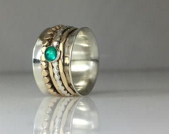 Emerald Mixed Metals Spinner Ring