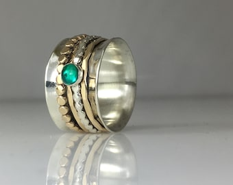 Emerald Mixed Metals Spin Ring ~ Aluminum Base
