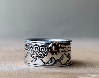 Perfect day mountain spinner ring