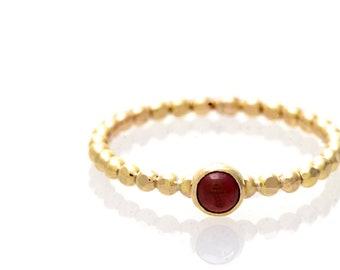 Garnet Gemstone Solitaire Stacking Ring